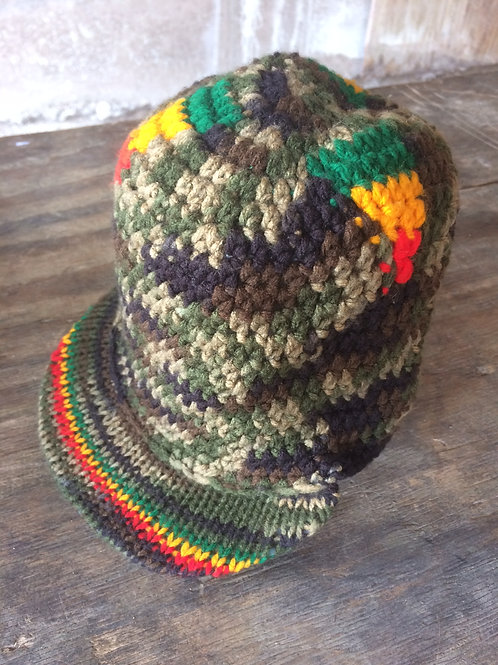 Camouflage with Rasta colour with Peak tam - hand knit by Rasta Queen Marva-G