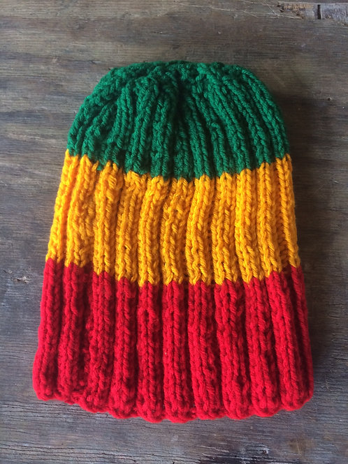 Rasta colour tam - hand knit by Rasta Queen Marva-G