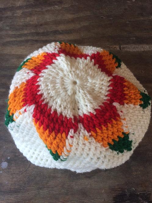 White + Rasta colour tam - hand knit by Rasta King