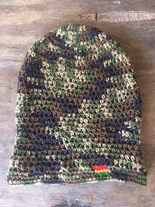 Camouflage with Rasta colour point tam - hand knit by Rasta Queen Marva-G