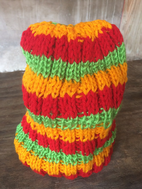 Red, Orange & Lime Green colour tam - hand knit by Rasta Queen Marva-G