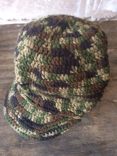 Camouflage with Peak tam - hand knit by Rasta Queen Marva-G