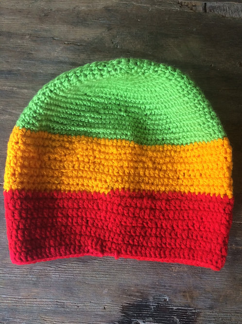 Rasta colour (Lime Green) short tam - hand knit by Rasta Queen Marva-G