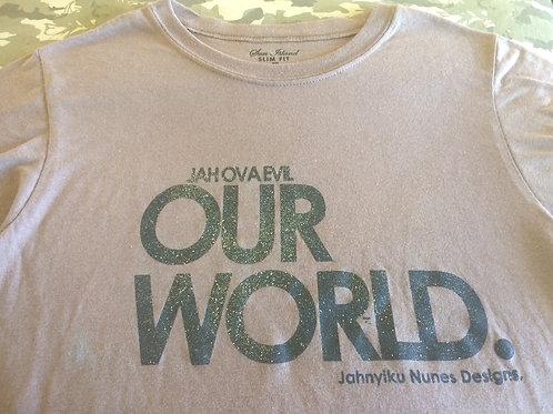 OUR WORLD Jah Ova Evil official beige T-S