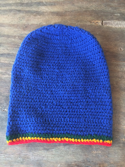 Blue with Rasta colour tam - hand knit by Rasta King