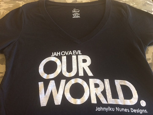 OUR WORLD Jah Ova Evil official black V-neck T-S