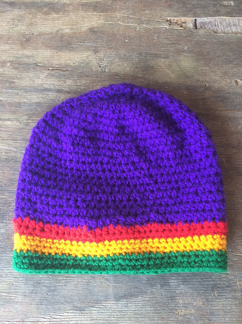 Purple and Rasta colour short tam - hand knit by Rasta Queen Marva-G