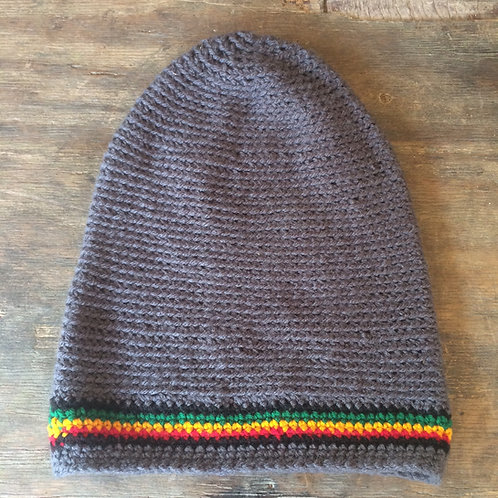 Gray with Rasta colour tam - hand knit by Rasta King