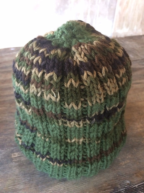 Camouflage and Green colour tam - hand knit by Rasta Queen Marva-G