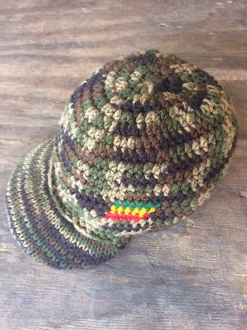 Camouflage colour tam with peak - hand knit by Rasta Queen Marva-G