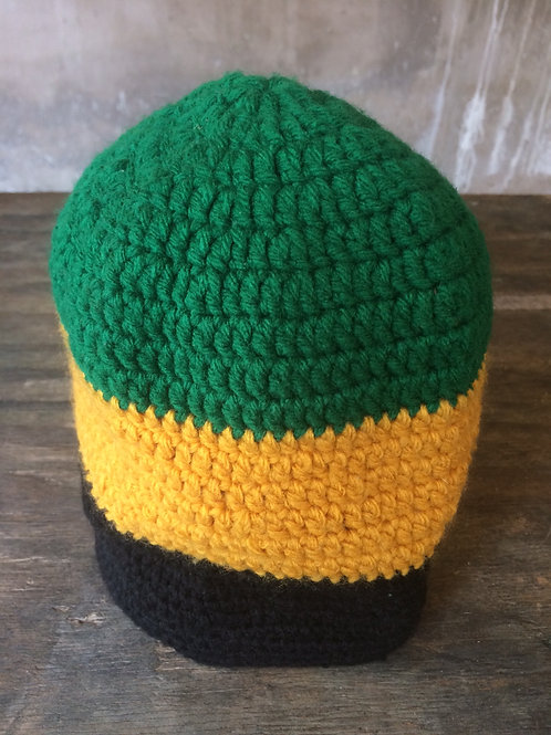 Jamaica Flag colour tam - hand knit by Rasta Queen Marva-G