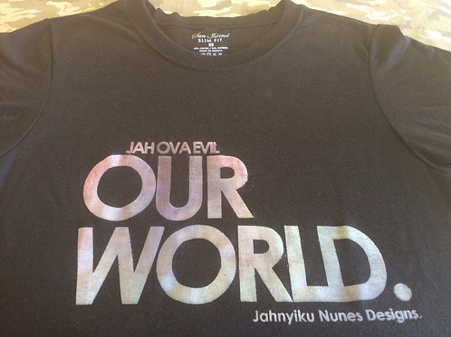 OUR WORLD Jah Ova Evil official grayish black T-S