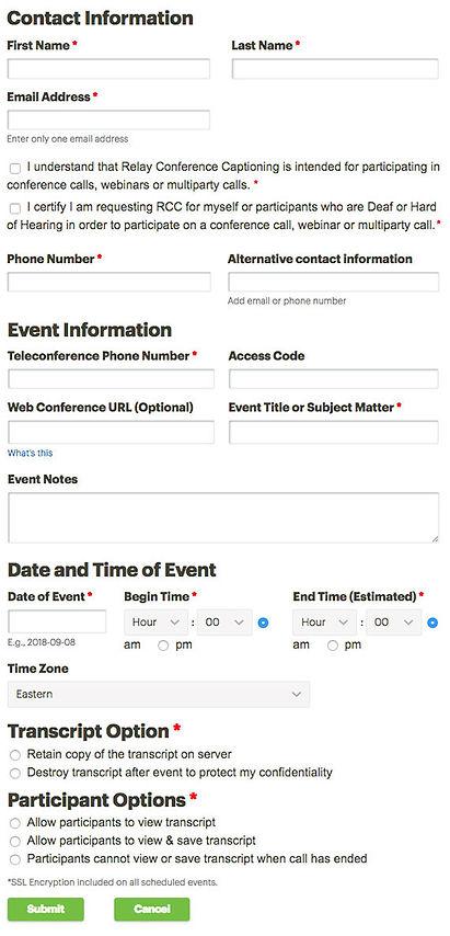 Book an Event online form