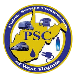 A circular logo of Public Service Commission of West Virginia