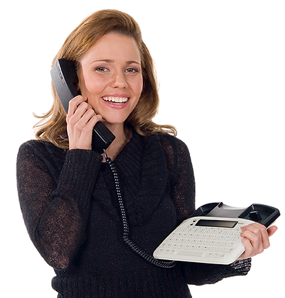 Smiling female holding a VCO TTY