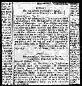 General Orders No.3 read aloud in Galveston, Texas on June 19, 1865