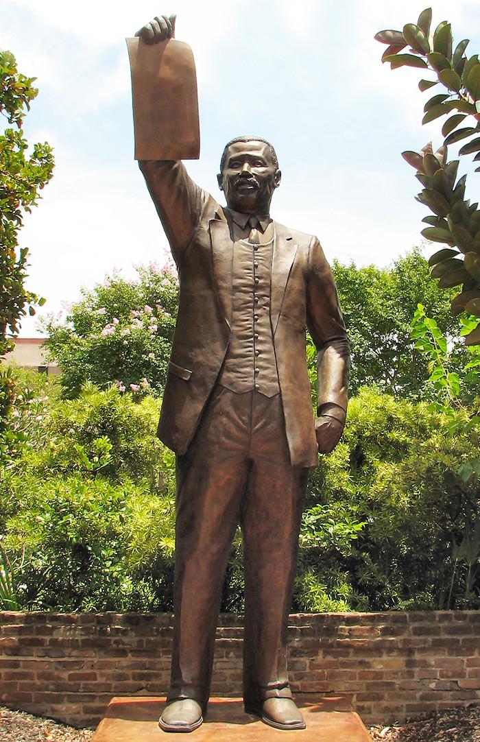 Al Edwards statue at Ashton Villa in Galveston, Texas