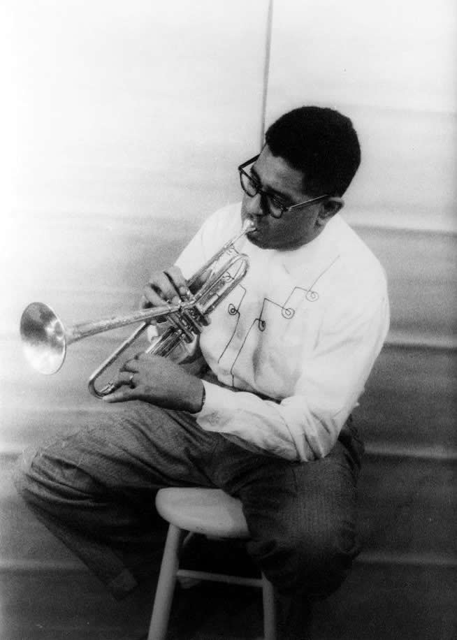 Dizzy Gillespie with trumpet in 1955