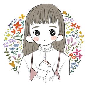 刺繍風カラフル花1