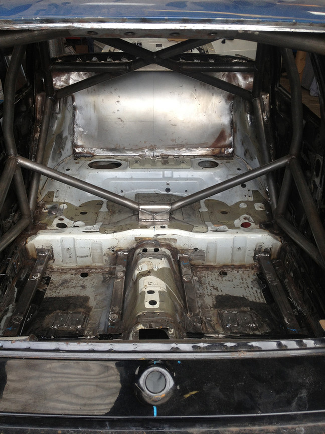 Rear subframe and roll cage in place