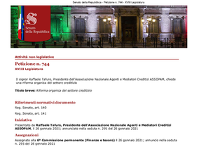 Riforma del Credito: Annunciata al Senato della Repubblica la petizione Assopam