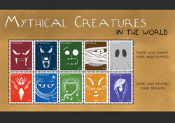 Stamp Collection Design - Mythical Creatures
