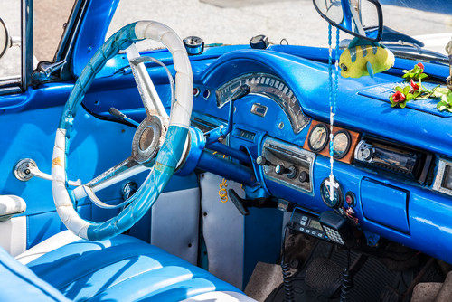 What kind of fabric is used for classic car upholstery