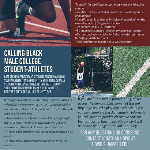Playing While Black - Recruitment Flyer