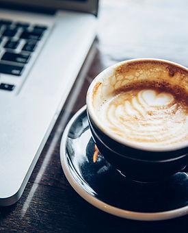 Laptop & Coffee, consultation, kickoff consultation, kickoff call