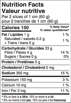 BreadBox Sourdough Loaf Nutritional Label