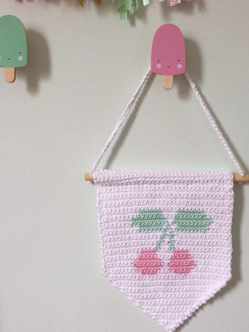 Flag Crochet Cerejinha - pronta entrega
