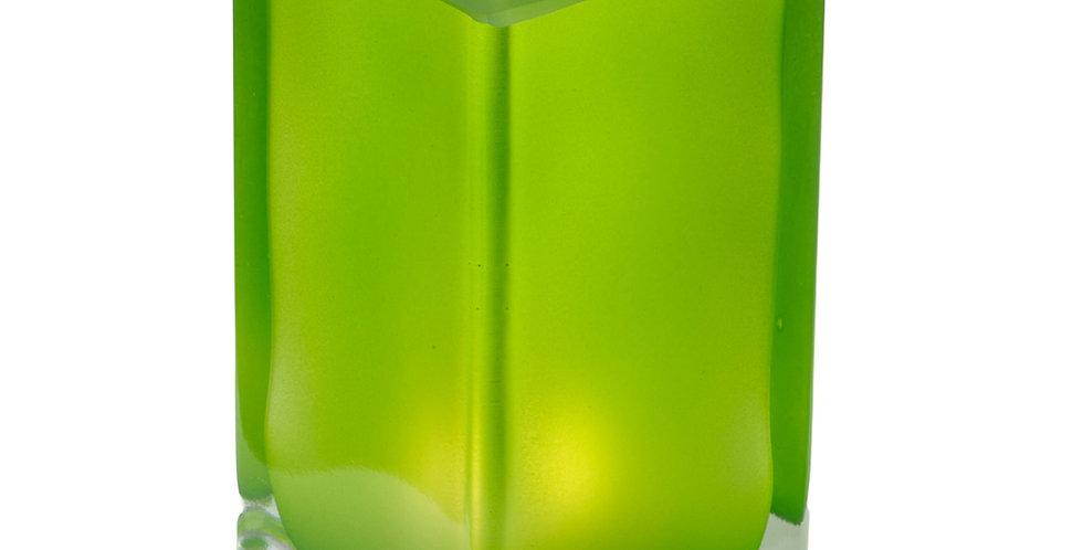 Photophore cube givré vert