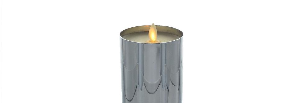 Bougie LED Luminara Metal argent