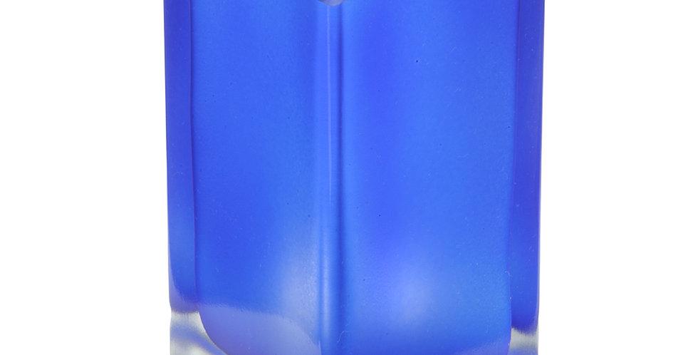 Photophore cube givré bleu