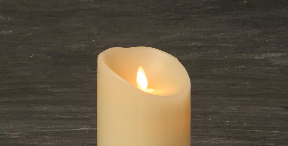 Bougie LED flamme oscillante en cire Ivoire 9x13cm