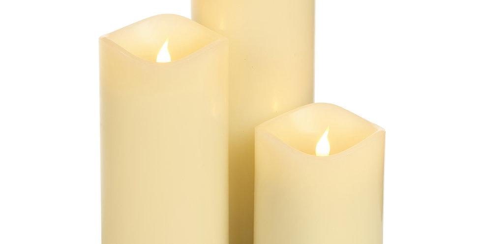 Kit de 3 Bougies LED Pilier SMART FLAME Rechargeables Cire Ivoire 14/18/23