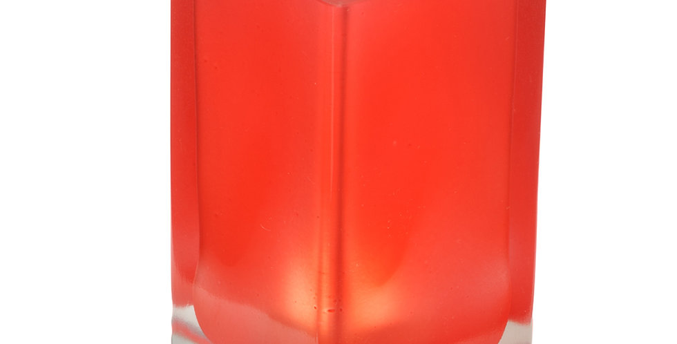 Photophore cube givré rouge