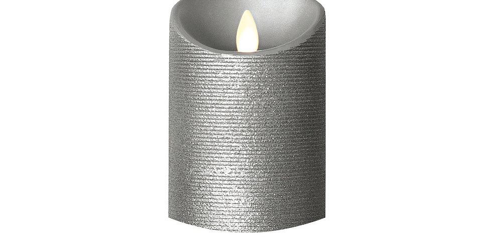 Bougie LED LUMINARA en cire Argentée 8x13cm