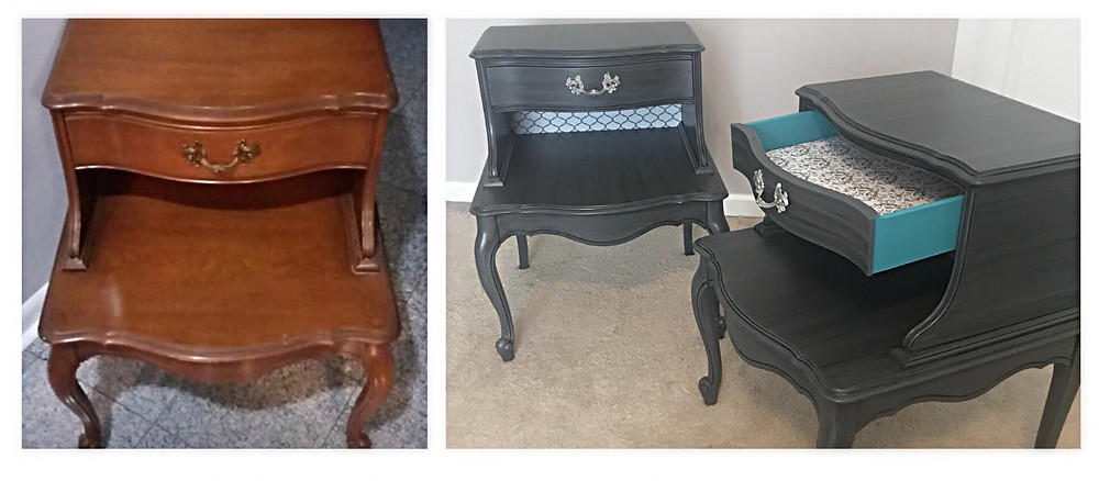 Nightstands before and after. This one also used some contact paper in addition to the lighter paint made darker with antiquing glaze.