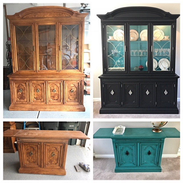 Before and after of a china cabinet and matching buffet. The china cabinet was painted black with teal inside, and the hardware was spray painted silver. The matching buffet was done in complimenting colors and antiqued for interest. This was my first time using antiquing glaze.