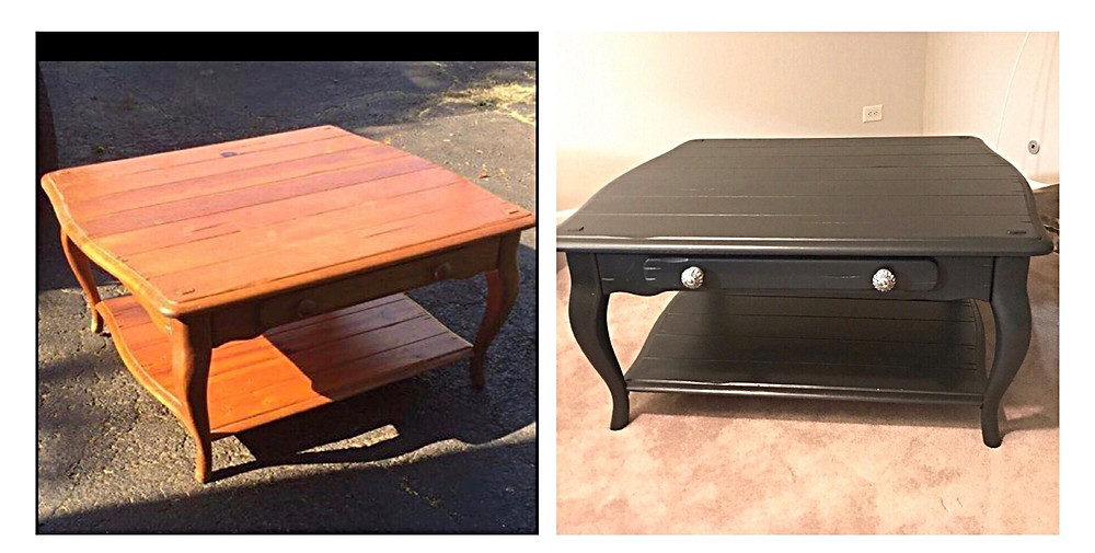Pine coffee table before and after with the same black paint used on the china cabinet. This also included replacing the wood drawer knobs with something more compelling.