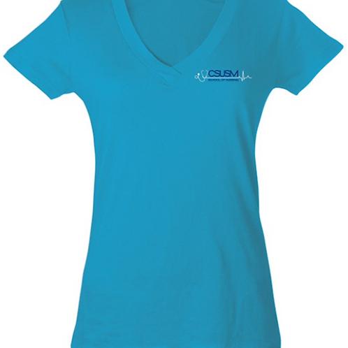 Women's Blue V-neck
