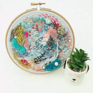 Abstract Freestyle Embroidery Hoop Art