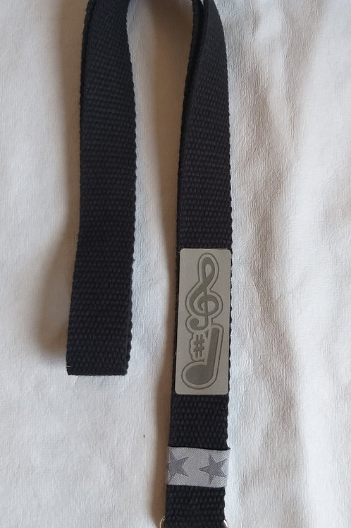 Schlüsselband (schwarz) zum Umhängen mit Musikmotiv