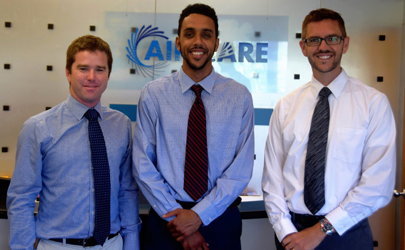 Left to right is Brendan Stones, Air Care's General Manager, Chris Crumpler Impact Mentoring Academy's Executive Director, and James Leman, Air Care's Manager, Business Development & Customer Care.