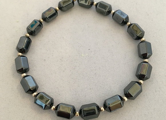Hematite with Silver Colour Spacers Elasticated Bracelet