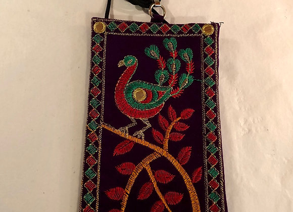 Handmade embroidered shoulder bag