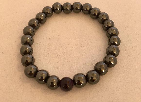 Hematite with Amethyst Magnetic Elasticated Bracelet