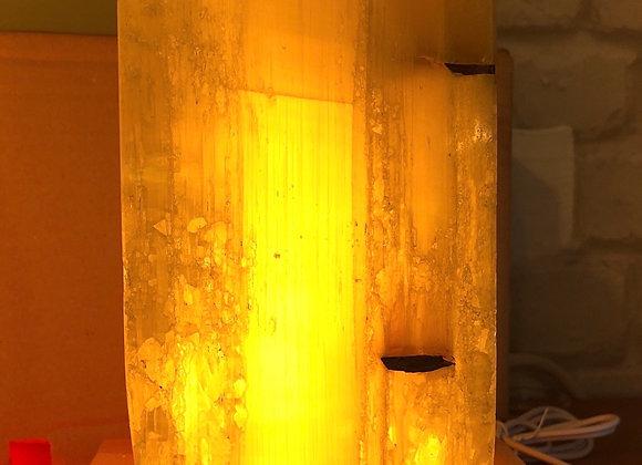 White selenite cube lamp on red selenite base