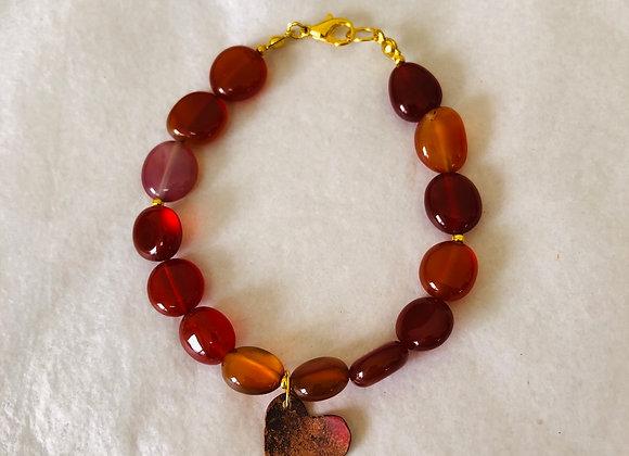 Carnelian with copper heart wired bracelet